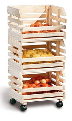 Fruit Box Storage 3 Tier Solid Wooden Basket Trolley Fruits Crate NEW