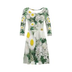 Beautiful Daisies White Gold Floral 3/4 Sleeve Sundress (D23)