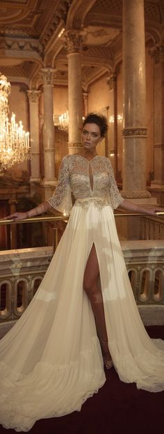 Love the dress sheer beaded 3/4 sleeve butterfly bell Ester Haute Couture Fall 2016 https://www.pinterest.com/pin/21673641935466370/