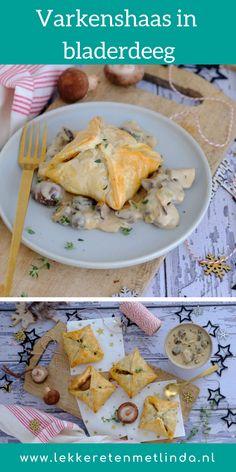 Varkenshaas in bladerdeeg met een champignon (truffel) saus is een kerst hoofdgerecht dat niet kan mislukken. Dit is een feestelijk vlees recept. Food Vans, Diner Recipes, Good Food, Yummy Food, Xmas Dinner, Oven Dishes, Savory Snacks, Different Recipes, Carne