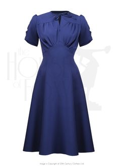 1940s Grable Tea Swing Dance Dress in French Navy