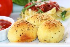 Meatball Stuffed Buns...there's cheese in there, too!  Super easy and good for a meal or a party :)