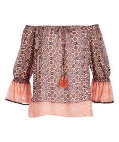 Another great find on #zulily! Orange Floral Ruffle-Trim Off-Shoulder Top - Women by Penelope Project #zulilyfinds
