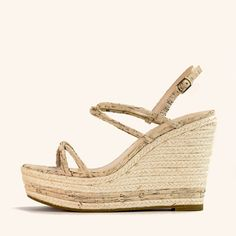 A tubular multi strap platform wedge sandal with with a rope jute wedge and adjustable side buckle. Great for style and all day comfort #fashion #style #cork #espadrilles #wedges #shoes #resort Gold High Heel Sandals, Platform Wedge Sandals, High Heels, Shoes Heels, Jute, Cork, Espadrilles, Wedges, Boots