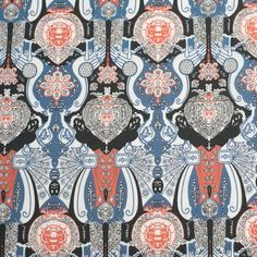 Stone Blue/Langoustino Misc Cotton Poplin Print Fabric by the Yard | Mood Fabrics