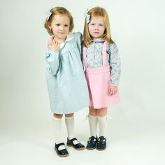 Hattie Pocket Dress- Fog Gingham, Ellen Circle Skirt in pink Corduroy and Margot Button Front Blouse.  Sweetest sets from La Petite Fleur Clothier!