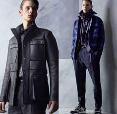 Lanvin 2014 Pre Fall Autumn Mens Lookbook - Paris France Pre Collection Pre Season Fashion - Plaid Checks Boots Stripes Multi-Panel Pants Trousers Sneakers Sweater Jumper Scarf Cargo Pockets Knit Stripes Cardigan Trainers Outerwear Field Jacket Leather Trench Coat Parka Furry Zebra Pattern Shearling Abstract Tuxedo Cocktail Smoking Jacket Suit