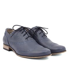 Navy Derby Leather Oxford