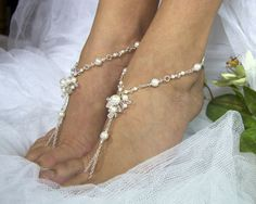 Bridal barefoot sandles beach wedding by PassionflowerJewelry, $90.00