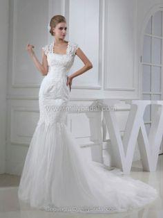 Trumpet/Mermaid Square Tulle Chapel Train Appliques Wedding Dresses
