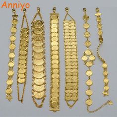 Buy Anniyo Gold Color Money Coin Bracelet Islamic Muslim Arab Coins Bracelet for Women Men Middle Eastern Jewelry African Gifts Gold Coin Necklace, Coin Bracelet, Bangle Bracelets With Charms, Coin Jewelry, Jewelry Gifts, Male Jewelry, Jewellery, Arabic Jewelry, Lucky Charm Bracelet