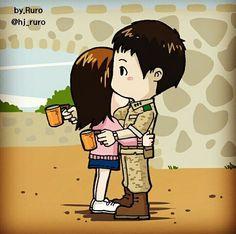 Descendants of the Sun Songsong Couple, Cute Couple Art, Cute Couples, Military Love, Army Love, Descendants Of The Sun Wallpaper, Decendants Of The Sun, Song Joon Ki, Love Cartoon Couple
