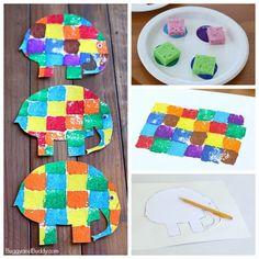 sponge painted elmer the elephant art project for kids