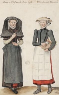 """Black and white aprons! """"femme ou fille flamende allant a Léglise.  Fille ou seruante Flamande""""  Possibly means 'Flemish woman or girl going to church.  Flemish girl or servant'  D'Heere, Lucas. 1575, page 51 http://adore.ugent.be/OpenURL/app?id=archive.ugent.be:1EEACAD8-B1E8-11DF-966C-0D0679F64438&type=carousel"""