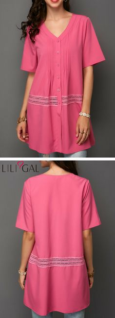 Short Sleeve Button Up Rose Red Blouse #liligal #top #blouse #shirts #tshirt