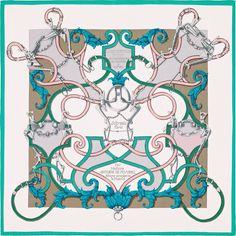 "L'Instruction du Roy | Hermès plume silk twill giant scarf, 55"" x 55"" (100% silk) | Ref. : H431761S 12 blanc | $780 | Designed by Henri d'Origny"