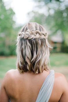 medium hair half up half down braided bridesmaid hairstyle