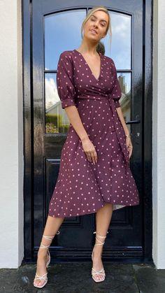 Closet Alannah Brown Polka Dot Wrap Dress