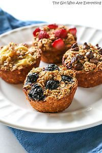 These Healthy Oatmeal Cups are little mini cups of oatmeal in a muffin tin sprinkled with any fruit that you desire. They really should be called Healthier Oatmeal Cups because they still have some sugar...