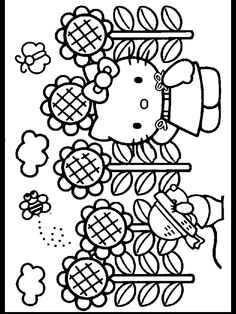 Sunflower Coloring Pages Free Printable For Kids 2 Find This Pin And More On Hello Kitty