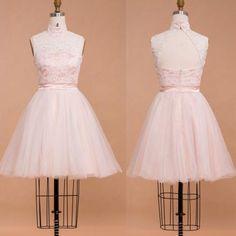 Lace white short prom dress..