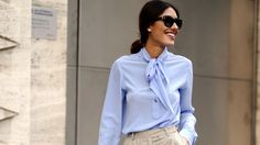 pussy bow blouse street style - Pesquisa Google