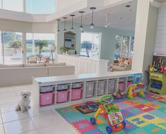 Playroom, converted playroom, open floor plan, playroom storage, playroom organization We converted our formal dining room into the playroom by simply adding some cubbies from IKEA to define the space. At one time we even had…