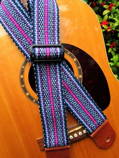 Handwoven Guitar Strap Navy and Shades of Violet by westcoastweave