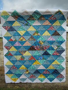 Awesome HST Quilt from Carol at Fun Threads! Who knew that just setting them on point would create so much interest for Half Square Triangles?!