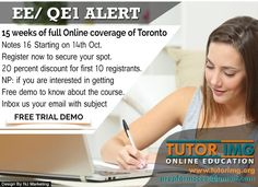 EE/QE1 ALERT ! 15 Weeks Of Full Online Coverage Of Toronto Notes 16 Starting on 14th October . So, Register Now To Secure Your Spot .  We Also Offer 20% Discount To First 10 Registrants .  Contact us @ prepformccee@gmail.com