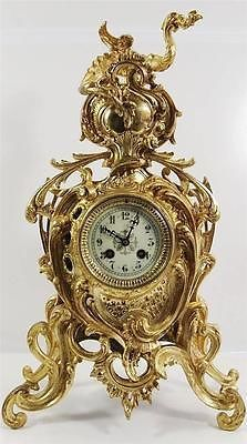 Antique clocks 19th c French Japy Freres gilt ormolu bronze Roccoco mantle clock