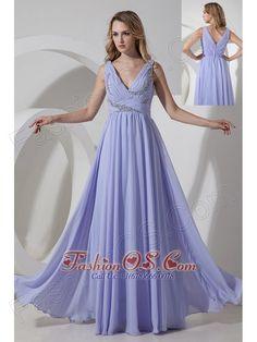 Lilac Empire V-neck Beading Prom Dress Floor-length Chiffon- $148.19  http://www.fashionos.com  | cheap floor length prom dress under 150 | sexy floor length prom dress | lilac homecoming dress | long prom dress in lilac | latest short prom dress |