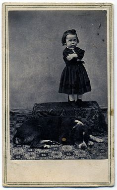 Vintage photo, Hattie and her dog Vintage Children Photos, Vintage Pictures, Old Pictures, Vintage Images, Antique Photos, Vintage Photographs, Polaroid, Little Girl Names, Portraits
