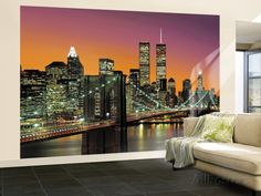 New York City Brooklyn Bridge Sunset Wall Mural Wallpaper Mural at AllPosters.com