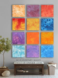 BOLD CUSTOM abstract Painting, 12 square Modern Abstract Wall Art, Large Abstract artwork, Purple, Green, Orange, Yellow, Red, Pink, Blue,