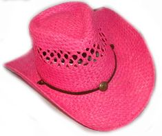 7e465ccee5f54 Kids HOT PINK Vented Raffa Straw cowgirl hat w draw string Cowgirl Hats