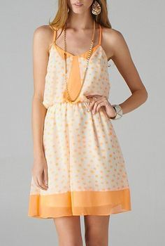 Lighthearted Amusement Spaghetti Strap Dotted Dress in Apricot | Sincerely Sweet Boutique