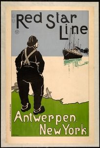 Red Star Line, Antwerp - New York, early 20th century (Tourism & traffic posters Belgium) #Booktower