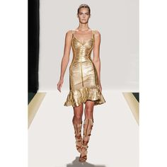 Herve Leger Julia Foil Beaded Dress - only $3800, nbd. I love the shape, especially with those sandals!