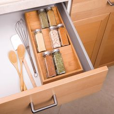 Tidy your spice bottles and jars with Seville Classics' Bamboo Spice Rack Cabinet Drawer Tray Organizer. Constructed of solid all-natural, attractive bamboo. Rack features three slanted shelves, angled so that jar labels can be read easil Kitchen Drawer Organization, Spice Organization, Kitchen Drawers, Cabinet Drawers, Kitchen Storage, Cabinet Organizers, Organizing, Garden Organization, Kitchen Cabinets