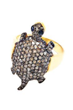 Pave Diamond Sliced Sapphire Turtle Ring - 1.42 ctw