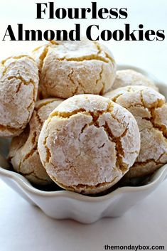 Flourless Soft Almond Cookies (Pasticcini di Mandorle) can be soft like marzipan or baked a few minutes more for a slightly crunchy chew. Either way, these wondrous cookies are a real Italian treat! Made with only 3 ingredients, Flourless Soft Almo Keto Cookies, Gluten Free Cookies, Cookie Desserts, Dessert Recipes, Passover Desserts, Dinner Recipes, Passover Recipes, Easter Desserts, Thanksgiving Desserts