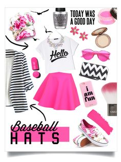 """""""Rock the Pop"""" by bowsandbriefcases ❤ liked on Polyvore featuring Vans, WithChic, UNIF, Chanel, OPI, Kate Spade, Topshop, baseballcap and baseballhats"""