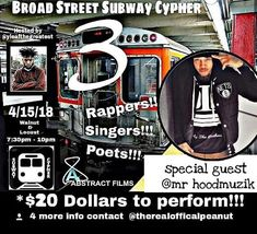 [ REPOST FROM @subwaycyphers ] BROAD STREET RAP   HIPHOP  SUBWAY CYPHER 3 [ HOSTED BY @yleafthegreatest #YLEAFTHEGREATEST #G3 #PHILLY SPECIAL GUEST APPEARANCE FROM @mr_hoodmuzik_heveweight_odg [ HEVEWEIGHT ]  CALLIN ALL #RAPPERS   #SINGERS   #POETS  [ DM FOR INFO ]  [DM FOR SLOT]  COME WIT THE HOTTEST BARZ #SUBWAYCYPHERS #BroadStreet #PhillySupportphilly #Dedicated #Music #HipHop #Music Forever #BroadSt #Rap #Born4greatness #Born2ball #Born2win #cyphers #RapCyphers #UndergroundMusic #G3…
