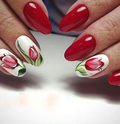 Bright Nail Designs, Nail Designs Spring, Nail Art Designs, Flower Nail Designs, Tulip Nails, Flower Nails, Red Gel Nails, Acrylic Nails, Nail Gel