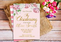 Gold & pink Christening Invite dedication by HappyPartyStudio