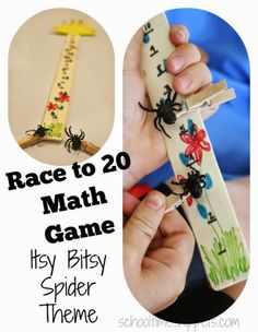 Race to 20 Fine Motor Preschool Math Game; adaptable to any theme, but we made ours during Nursery Rhyme Preschool Week to go along with Itsy Bitsy Spider
