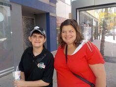I and Kayla waiting bus pick up.