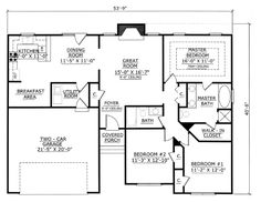 First Floor Plan of Traditional   House Plan 54404