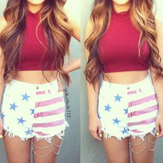 @Kristy Le Faded american flag cutoff shorts and red crop top
